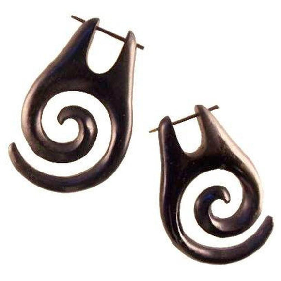 Wood Jewelry | Black Spiral Earrings, Arang Wood, 1 1/8 inches W x 1 3/4 inches L.