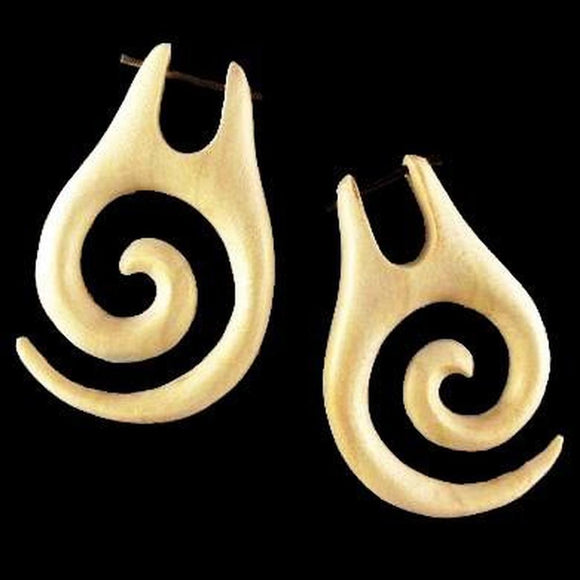 Wood Jewelry | Spiral of Life. Light Wood Earrings, 1 1/8