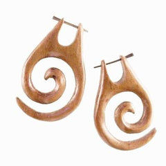 Borneo Spiral Earrings | Maori Spiral. Wood Earrings. Natural Sabo, Handmade Wooden Jewelry.