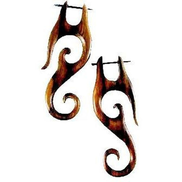 Wooden Earrings | Drop Spirals, sono. Tribal Earrings. Wooden Jewelry.