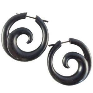 Wooden Jewelry | Ocean Hoop. Black Spiral Earrings. Ebony Wood Jewelry.