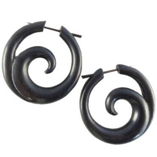 Ocean Hoop. Black Spiral Earrings. Ebony Wood