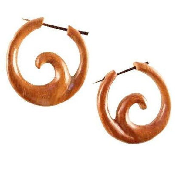 Ocean Hoop spiral, sabo. Tribal Earrings. Wood.