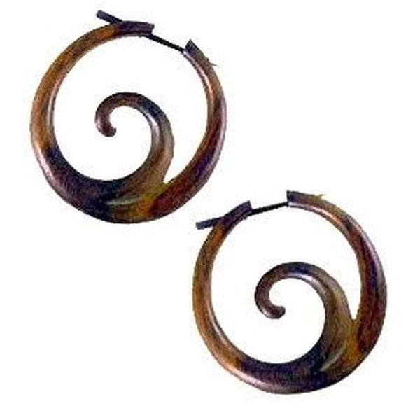 Ocean Hoop, sono. Spiral wood hoop earrings.