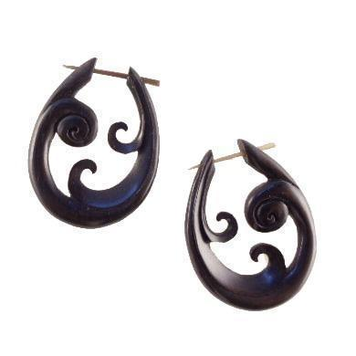 Buffalo horn Spiral Earrings | Trilogy Spiral. Handmade Earrings, Horn Jewelry.