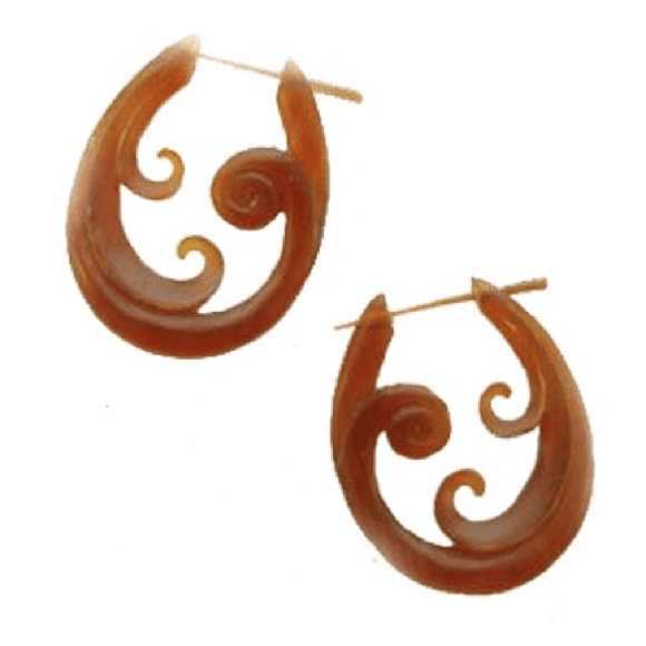Tribal Earrings | Spiral Hoop Amber Horn Earrings, 1 inches W x 1 1/2 inches L.