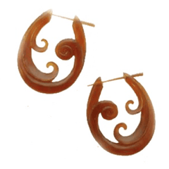 Spiral  Horn Earrings | Trilogy Spiral. Amber Horn Hoop Earrings.