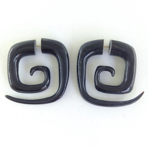 Large hoop Spiral Earrings | Square Maori Spiral tribal earrings. Horn. (defects)