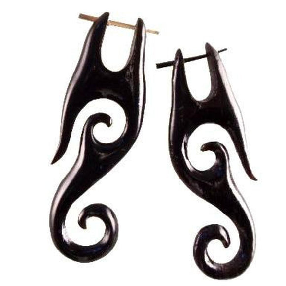 Spiral Tribal Earrings | Drop Earrings. Black Horn. Spiral Jewelry.