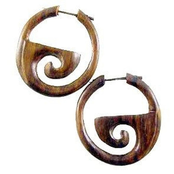 Large hoop Spiral Earrings | Inner Spiral Hoops. Wood Earrings. Natural Sono, Handmade Wooden Jewelry.