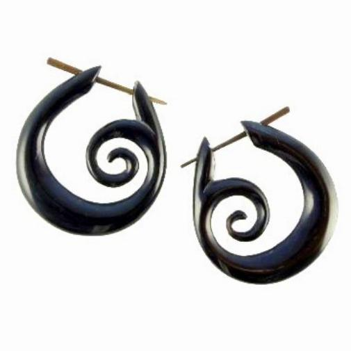 Buffalo horn Spiral Earrings | Spiral Hoops. Tribal Earrings, Black Jewelry.
