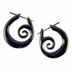 Spiral  Horn Earrings | Spiral Hoops. Tribal Earrings, Black Jewelry.