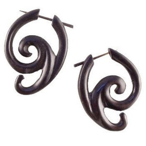Spiral Earrings | Arang Wood Earrings, 1 1/4 inches W x 1 1/2  inches L. $29