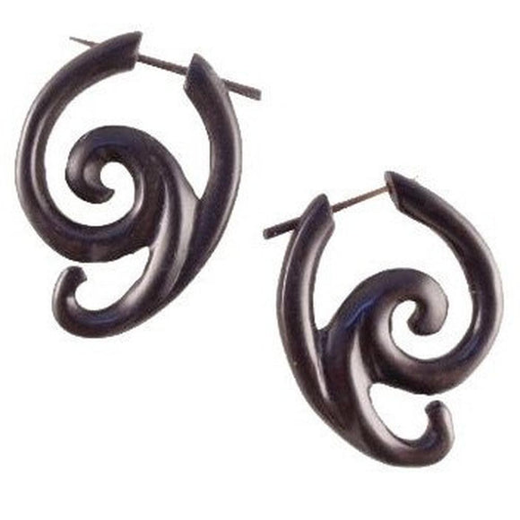 Tribal Earrings | Swing Spiral. Areng Wood. Wooden Earrings & Natural Jewelry.