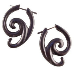 Borneo Spiral Earrings | Swing Spiral. Areng Wood. Wooden Earrings & Natural Jewelry.