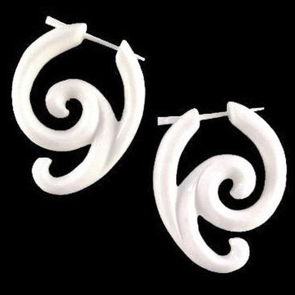 Spiral Organic Earrings | Swing Spiral Earrings. Carved Bone Jewelry.