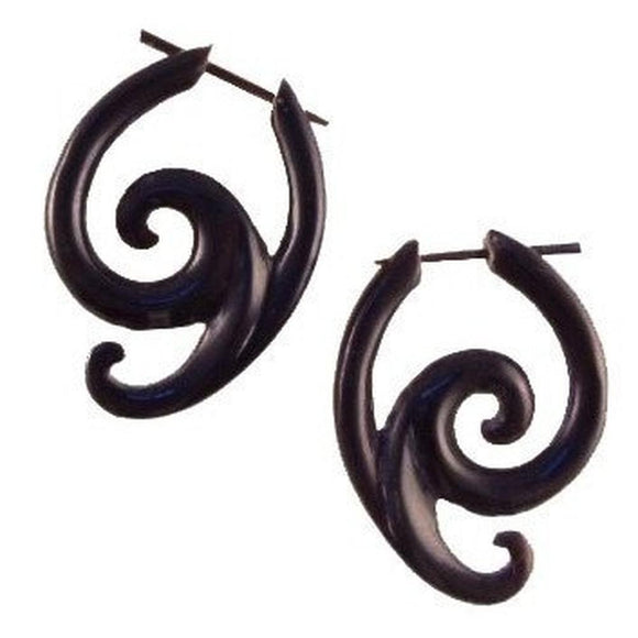 $20 to $30 Spiral Earrings | Swing Spiral. Handmade Earrings, Horn Jewelry.