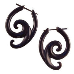 Spiral  Horn Earrings | Swing Spiral. Handmade Earrings, Horn Jewelry.