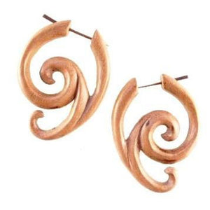 Tribal Earrings | Sabo Wood Earrings,  1 1/4 inches W x1 1/2  inches L. $29