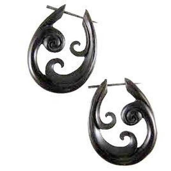 $30 to $50 Spiral Earrings | Trilogy Spiral, black. Wooden Earrings.