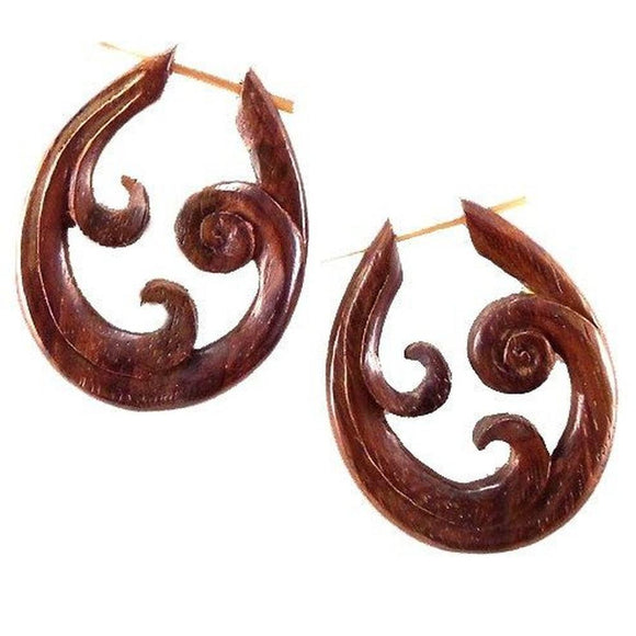 Spiral Organic Earrings | Trilogy Spiral. Wood Earrings. Natural Sono, Handmade Wooden Jewelry.