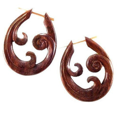 Borneo Spiral Earrings | Trilogy Spiral. Wood Earrings. Natural Sono, Handmade Wooden Jewelry.
