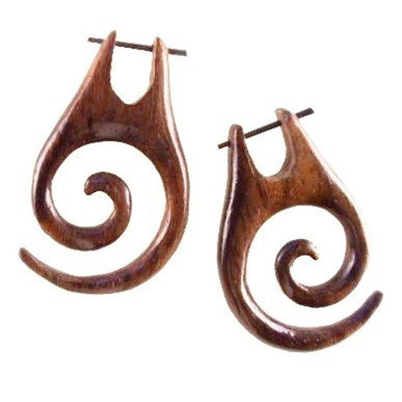 Tribal Earrings | Spiral Wood Earrings, sono. 1 1/8 inches W x 1 3/4 inches L.