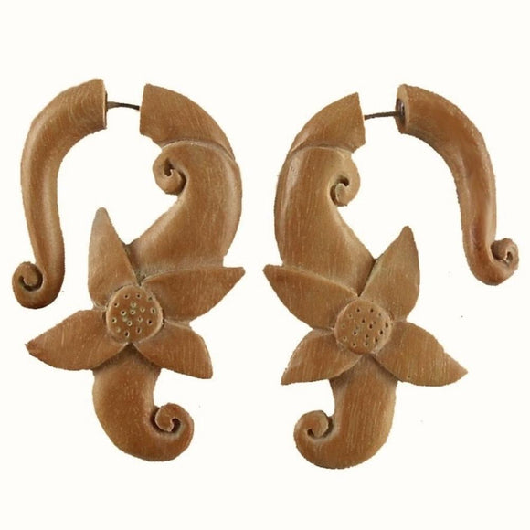 Sabo wood Earrings | Moon Flower. Fake Gauge Earrings, Boho wooden faux gauges.