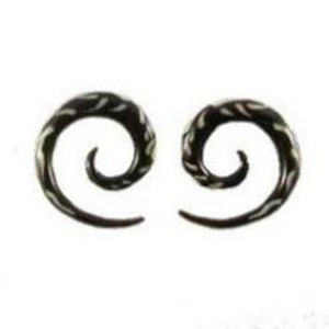0 Gauge Earrings | Droplet Spiral. Horn with bone inlay 4g, Organic Body Jewelry.