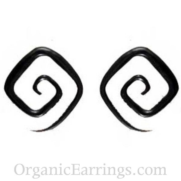 Spiral Body Jewelry | Water Buffalo Horn Square Spirals, 4 gauge