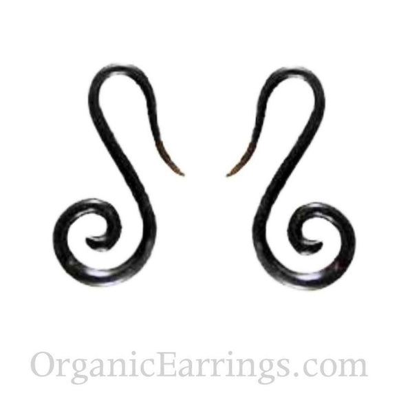Organic body jewelry Spiral Earrings | French hook spiral. Horn 10g Organic Body Jewelry.
