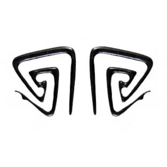 Spiral Tribal Earrings | Double triangle spiral. Horn 6g Body Jewelry. Black.