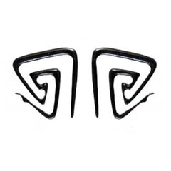 Triangle Spiral Earrings | Double triangle spiral. Horn 6g Body Jewelry. Black.