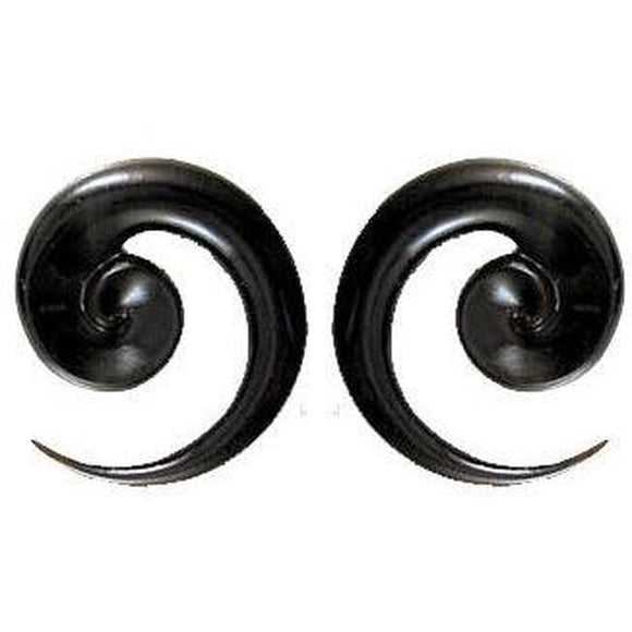 Black 00 Gauge Earrings | Talon Spiral. Horn 00g Organic Body Jewelry.