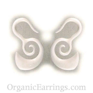 Gauge Earrings | Borneo Spirals. Bone 8g, Organic Body Jewelry.