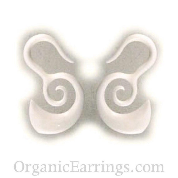 Spiral Tribal Earrings | Borneo Spirals. Bone 8g Organic Body Jewelry.