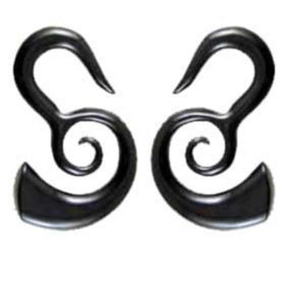 Buffalo horn Spiral Earrings | Borneo Spirals. Horn 2g Organic Body Jewelry.