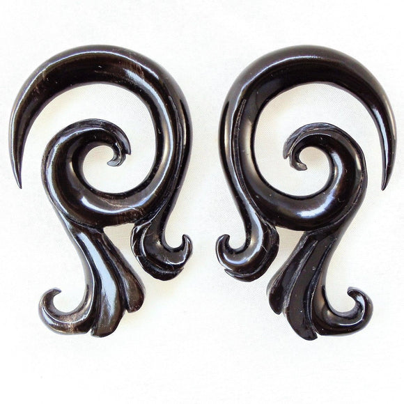 Gauged  Horn Earrings | Celestial Talon. Black Horn 0 gauge body jewelry.