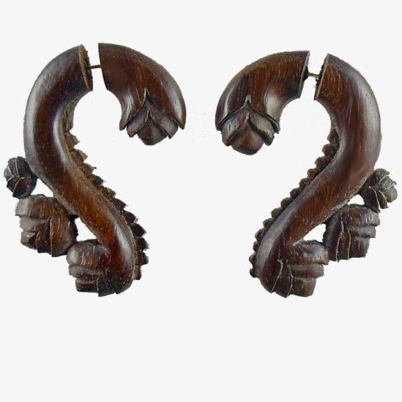 Wood Fake Gauge Earrings | Evolving Vine, sono, Tribal Fake Gauges. Wood Jewelry.
