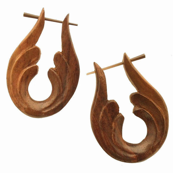 Wood Jewelry | Beginning. Wooden Hoop Earrings, sono. 1 1/4