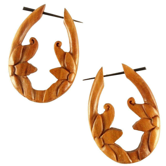 Sabo wood Earrings | Moon Flower, sabo. Tribal Earrings. Wooden Jewelry.