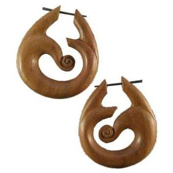 Natural Jewelry | Tribal Wind. Wooden Earrings. Hibiscus Wood