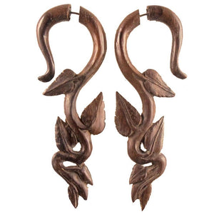 Tribal Earrings | Fake Gauge Earrings, Ivy Dangle. Sono Wood Earrings.