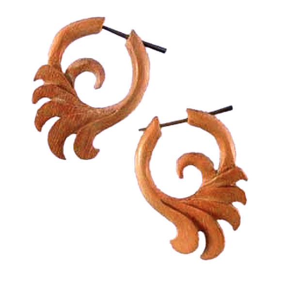 Sabo wood Earrings | Ocean Wings, sabo. Wooden Earrings. Tribal.