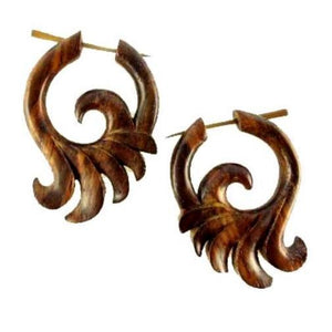 Spiral Jewelry | Ocean Wings, sono. Tribal Hoop Earrings. Wooden Jewelry. Natural.