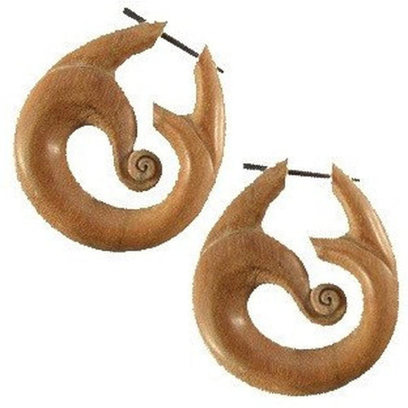 Wood Jewelry | Tribal Wind, Sabo. Wood Earrings. Spiral Jewelry.