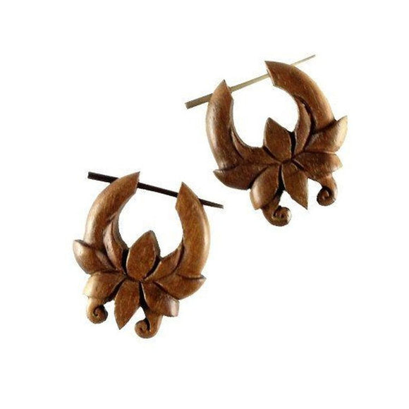 Natural Jewelry | Chocolate Flower, Hibiscus. Tribal hoop earrings. Wooden jewelry.