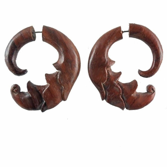 Wood Fake Gauge Earrings | Ginger Flower, sono. Fake Gauges Tribal Earrings, natural.
