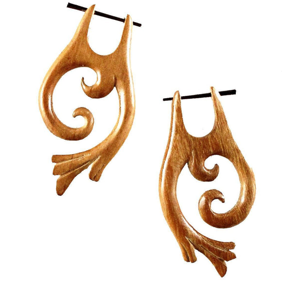 Natural Jewelry | Falcon Vine, Sabo. Wood Earrings. Tribal Jewelry.