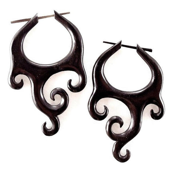 Natural Jewelry | Goddess Wings, black. Tribal Earrings & Wooden Jewelry.